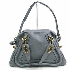 Auth Chloe Paraty Grays Leather Hand Bag #885O23
